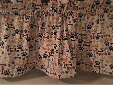 NEW Dog Puppy Bones & Paw Prints Valance Curtain