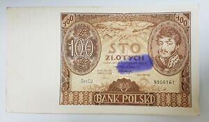 POLAND 100  ZLOTYCH 1934  Serie CN  P 75b  W//Staples  AU//UNC  Uncirculated