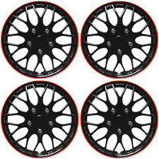 "4 Pc Set 16"" Ice Black & Red Hub Cap Full Lug Skin Rim Cover for OEM Steel Wheel"