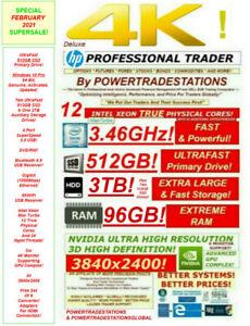 HP Trading Computer 6Monitor 12CoreXeon 24HT 512SSD 3TBHDD DVDRW 96GBRAM DESKTOP