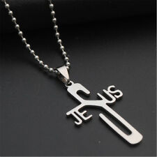 Christian Symbol Jesus Cross Coopper Chain Pendant Necklace Stainless Steel