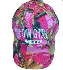 Baseball Cap Cowgirl Tough Pink Camouflage 6 Panel Bling Hat Jeweled Design