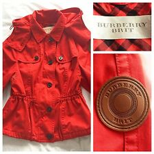 Burberry Coat Parka Draw Cord Waist Jacket Orange Red Medium | BURBERRY BRIT