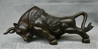 "13,2 ""Bronze Chinois Folk Feng Shui Zodiac Animal Bull Oxen Richesse Statue"