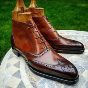 Men's Handmade Pure Leather Patina Ankle Dress Boots, Best Quality Leather Boots