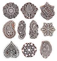 Set of 10 Wooden Stamps Designer Craft Printing Henna Textile Printing
