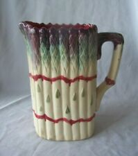 Old French Majolica Pottery Asparagus Pitcher