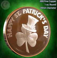 """""""Saint Patrick's Day"""" Copper 1 oz .999 Copper Round"""
