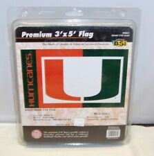 BSI 3' x 5' PREMIUM FAN FLAG UNIVERSITY OF MIAMI HURRICANES NCAA NIP
