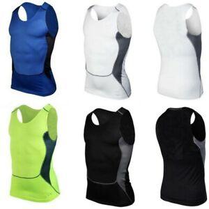 Men Sport Under Shirt Skin Body-Armour Compression Wear Base Layer Vest Top AU
