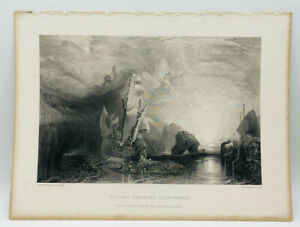Antique Ulysses Deriding Polyphemus Engraved Etching Turner 1859-1861.