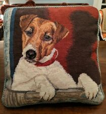 "Adorable Jack Russell Terrier Dog Needlepoint 14"" Square Velveteen Back w/Zipper"