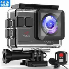 Victure Action Cam 4K WiFi Ultra HD Microfono Esterno Fotocamera Subacquea co...