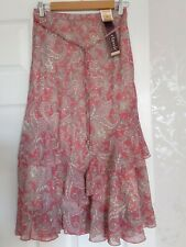 M&S Marks Spencer Size 10 Skirt Pink Paisley Classic Summer Holiday Tags
