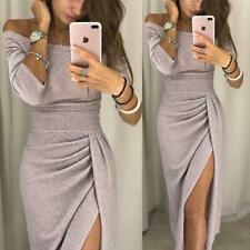 Evening Party Dress Off Shoulder Good Quality Fashion Solid Color Sexy Slim YW