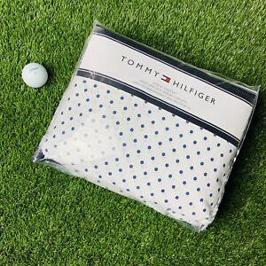 Tommy Hilfiger Polka Dot Twin XL Sheet Set White NavyBlue TH Logo 3 Pc Open Box