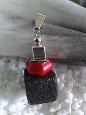 schöner Lava Würfel Anhänger für Kette mit roter Schaumkoralle Perle Silber