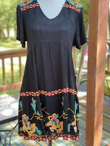 New Double D Ranch TV Cowboys Western Black Dress Small