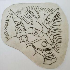 vintage tattoo original demon devil oni acetate flash stencil shaw pike 4.5x5