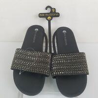 Big Budddha Womens Shoes Size 9 Black Bling Comfort  Sandals New