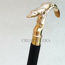 Designer Golden Brass Handmade Crocodile Handle Walking Stick Vintage Cane Gifts