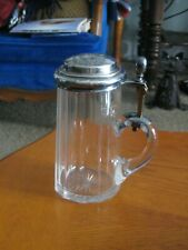 Antique German Beer Stein - Cut Glass - Silver Lid