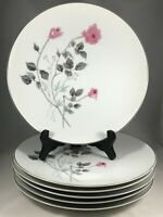 "Set of 6 Arita China Japan Pink Rose Flower 10 1/4"" Dinner Plates"