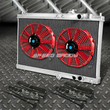 "2-ROW ALUMINUM RADIATOR+2X 9"" FAN RED FOR 94-01 ACURA INTEGRA GS RS DB GSR DC2"