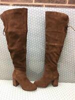 Steve Madden NOVELA Brown Suede Side Zip Over The Knee Boots Women's Size 9