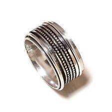 Meditation Spinner Ring Silver Overlay Handmade Artisan Crafted Band Ring US-10