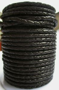 Geflochtenes Lederband 3 mm Braun.1 - 5 & 10 Meter lang Bolaband, Lederschnur