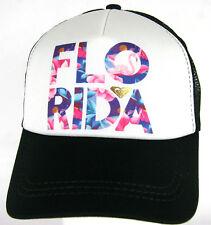 Roxy Snapback Trucker Cap FLO RIDA Florida Roxy Beach Surf Black White Roxy Hat