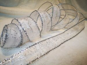 1 Metre RIBBON WHITE SILVER SPARKLE WIRE EDGED CRAFT GIFT WRAPPING
