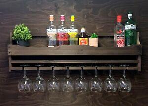 Wine Rack Gin Shelf Rack Bottle 8 Glass Holder Wall Mounted Home Bar (8GDO)EL