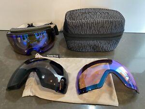 Smith Men I/O MAG Chromapop Snow/Ski Goggle W/ Hard/Soft Case + 3 Lenses Extras!