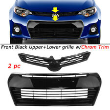 2PCS For 2014-2016 Toyota Corolla S E170 Upper+Lower Gloss Black Front Grille