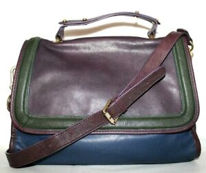 ❤️SLOANE & ALEX Shea Colorblock Leather Cross-Body Satchel Bag EXCELLENT! L@@K!