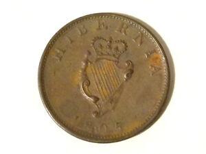 EVASIVE or DIE ERROR 1805 George III Hibernia Half Penny Copper Coin G14*