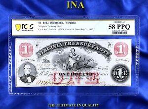 Virginia Treasury $1 Note Obsolete Currency 1862 Civil War PCGS 58 PPQ