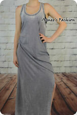 NEW NEXT LADIES UK 14 WASHED OUT GREY SIDE SPLIT MAXI DRESS