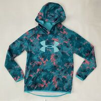 Under Armour Girls ColdGear Loose Fit Hoodie Youth XL Floral Pink Blue YXL