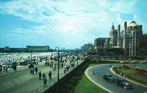 Vintage Postcard 1959 Boardwalk Atlantic City Showing Beach Shelburns Hotel