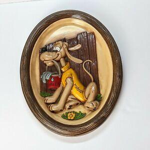 Pluto Dog Ceramic Plaque Wall Decor Walt Disney Productions oval shaped vintage