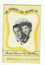 1940s Ad Leaflet Favorite Egg Recipes Caludette Calbert Fred MacMurray Egg & I