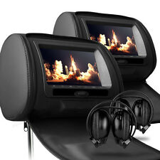 "2 x Black 7"" Leather-Style Car DVD Headrests with HD-Screen/USB/Games/Headphones"