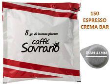 150 CIALDE CAFFE CREMA BAR SOVRANO FILTRO CARTA 44MM COMPATIBILI MOKONA BIALETTI
