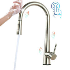 Touch Kitchen Sink Faucet Pull Out Sprayer Brushed Nickel Mixer Tap Stainless