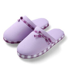Purple Women's Home Slippers Fleece Plush Thong Flipflop Indoor House Shoes 7_8