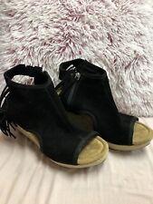 MINNETONKA Black Suede Sandals Fringe Wedge Platform BLAIRE Open Toe Back Mint