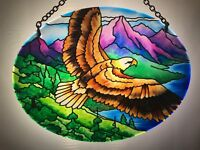 Joan Baker stained Glass art Suncatcher-MO085R-Eagle Window Hangings New item